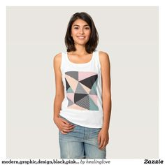 modern,graphic,design,black,pink,mint,cheker,trend basic tank top Tank Tops