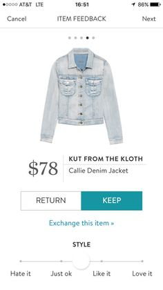 Hi stylist, I would love this denim jacket. - Kat