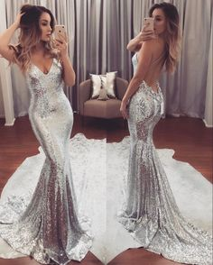 Fabric:+Sequin Color:+Silver Neckline:V+Neck Train:+Sweep+Train Silhouettes:+Mermaid Back+Detail:+Open+Back Trends:+New+Arrival+,Lastest+Design Embellishment:+Bra,+Spaghetti+Straps Collection:+Prom+Dresses,Pageant+Gown Processing+time:+18+-20+working+days Shipping+time:4-5+working+day...