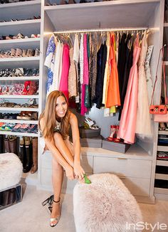 Go Inside Monique Lhuillier's Stunning Closet in Her L.A. Home - The Ottomans  - from InStyle.com