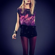galaxy top & velvet look shorts #fashion #galaxy