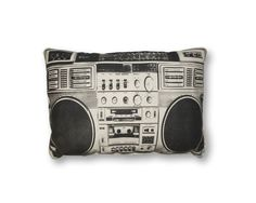 YOU NEED THIS! A hand screen printed cotton pillow with boombox design. All our pillows are stuffed with 100% polyester fiber fill and sewn closed. This pillow would make a great addition to your home