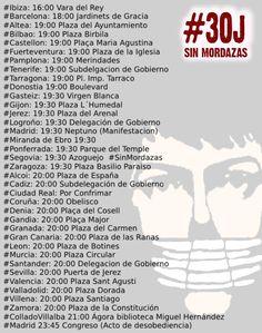 Movilizaciones en todo el Estado para decir NO a la #LeyMordaza #Desobedece30J Busca tu ciudad y sal a la calle!