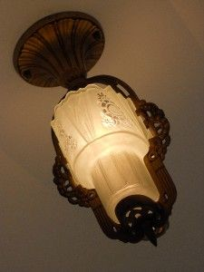 early 1900s light fixtures | 1900s ArtDeco Slip Shade Jadeite Ceiling light fixture