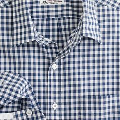 Slim washed Thomas Mason® fabric point-collar shirt in blue gingham