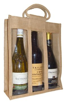 Natural 3 wine bottle jute bag with window, partition and cotton corded handles. These are a great but inexpensive way to package wine and tall bottles. External measurements are approximately 28cm wide x 10cm deep and 34cm high to top of bag. Designed to accommodate 3 average sized wine bottles. Hamper Boxes, Wine Bottle Design, Wine Bags, Christmas Hamper, Textiles, Prosecco, Wine Bottles, Jute, Wines