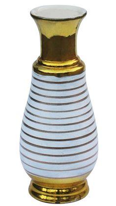Wholesale Handmade Ceramic Ribbed Flower Vase - Bulk Buy Hand-Painted Metallic Golden-Tone & White Flower Vase/Pot - Source Decorative Pots & Planters - Home & Garden Decor Home Decor Vases, White Home Decor, Metal Flowers, White Flowers, Paint Stripes, White Houses, Handmade Ceramic, Handmade Home Decor, Ceramic Vase