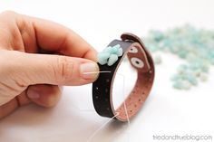 Beaded Leather Bracelet #DIY - Continue adding beads and could be made with leather scraps