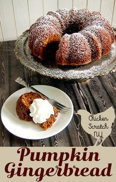 Perfect for fall thi Perfect for fall this sticky and spicy pumpkin gingerbread gets extra flavor from dark beer. It's a perfect autumn dessert served alone or with a hearty dollop of whipped cream and a sprinkle of powdered sugar Great Desserts, Fall Desserts, Delicious Desserts, Dessert Recipes, Dessert Ideas, Pumpkin Recipes, Fall Recipes, Holiday Recipes, Microwave Recipes