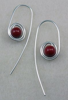 Quick Spiraled Beaded Earrings from Carol Lagoski.  #Wire #Jewelry #Tutorials