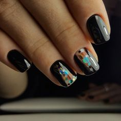 Black glossy nails, Black nail polish with sparkles, Black nails ideas, Bright manicure on short nails, Hardware nails, Natural nails, New year nails ideas 2017, Short black nails