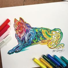 Os animais fantasticamente coloridos de Katy Lipscomb - Katy Lipscomb usa e abusa de cores vivas juntamente com as formas fluídas, que dão um toque especial em seus desenhos com temática animal.