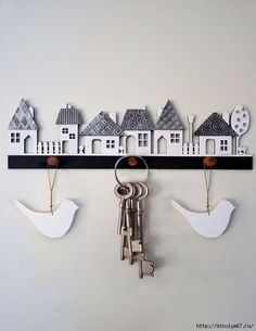 Crafts House Village wooden cutout with pewter textured roofs, kit form from Mimmic Gallery and Studio Wooden Crafts, Clay Crafts, Home Crafts, Diy And Crafts, Arts And Crafts, Clay Houses, Ceramic Houses, Pewter Art, Metal Embossing