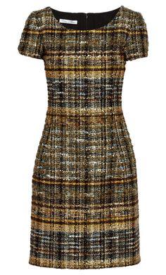 Metallic tweed dress w/ kitten heels or w/ sneakers and jean jacket. Slim Fit Dresses, Casual Dresses, Fashion Dresses, Short Sleeve Dresses, Dresses For Work, Tailored Dresses, Metallic Mini Dresses, Tweed Dress, Discount Designer Clothes