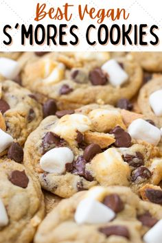 These vegan s'mores cookies are packed with chocolate, graham crackers and marshmallows! The best s'mores stuffed cookies recipe ever. #vegansmorescookies #vegansmores #vegancookierecipes #vegandesserts #vegancookies Healthy Vegan Cookies, Vegan Oatmeal Cookies, Healthy Cookie Recipes, Vegan Dessert Recipes, Vegan Treats, Vegan Foods, Vegan Recipes Easy, Sweet Recipes, Cooking Recipes