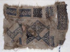 A Mamluk pattern darning sampler. This sampler is from the Mamluk period in Egypt, 1250-1517C.E.