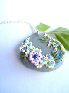 Free Form Polymer Clay Applique Embroidery by OriannaSpringJewelry,