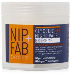 Nip + Fab Exfoliate Glycolic Fix Night Pads Extreme pads are a super-strength acid exfoliating pads with AHA and BHA complex. Homemade Skin Care, Diy Skin Care, Skin Care Tips, Organic Beauty, Organic Skin Care, Exfoliating Gloves, Target, Best Skincare Products, Beauty Products