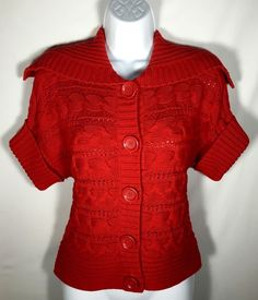Women's MICHAEL KORS Red Cable Short Sleeve Cardigan Sweater Medium M #MichaelKors #Cardigan