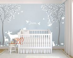 Wall decal birch trunks forest with deer - wall decal - wall design - with .- Wandtattoo Birkenstämme Wald mit Hirschen – Wandtattoo – Wandgestaltung – Mit L… Wall decal birch trunks forest with deer – wall decal … - Nursery Wall Stickers, Nursery Wall Art, Nursery Room, Tree Decal Nursery, Nursery Decals Girl, Wall Stickers Tree, Bedroom, Baby Boy Rooms, Room Baby