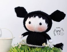 Lexi the black Angus cow knitted doll