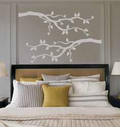 Grey Branch With Leaves Autocollant mural - 35€