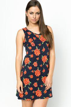 Roses Print Navy Dress