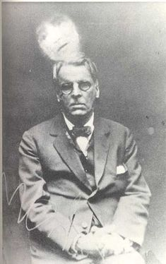 """W. B. Yeats in a """"spirit photo"""" taken at a seance in Paris, circa 1914 via Tarot Dreams by Christopher Benfey 