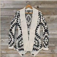 Aztec print cardigan - white