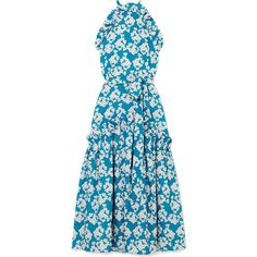 Borgo De Nor Dora ruffle-trimmed floral-print crepe maxi dress ($880) ❤ liked on Polyvore featuring dresses, ruffle maxi dresses, blue floral dress, blue maxi dress, maxi dresses and blue print dress