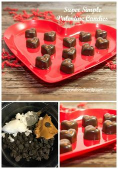 These super simple chocolate hearts take only minutes to make and a couple of ingredients. Way better than store bought candy!