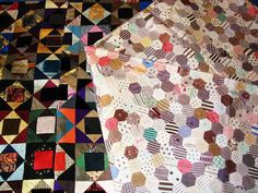 An hexagonal cotton patchwork quilt