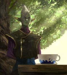 Painting of Zamasu from Dragon Ball Super. There was a couple of scenes where he was staring at tea that had an ominous feeling and I wanted to recreate that. www.artstation.com/artist/abel…...