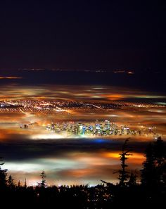 unwrittennature:  Vancouver Night/Fog (by flynnkc)