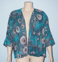 NY Collection Peacock Feather 3/4 Sleeve Kimono Drape Cardigan Jacket Size XL…