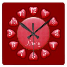 Puffed Hearts Pink Square Clock #zazzle #hearts #clock #pink #red #valentinesday #walldecor http://www.zazzle.com/zazzlewallclocks