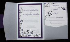 PRINTABLE Purple Silver Winter Wedding Invitation Template ...
