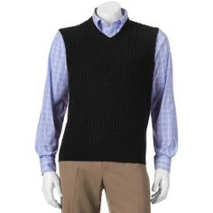 Mens Dockers Comfort-Touch Cable-Knit Sweater Vest, Size: S, Black