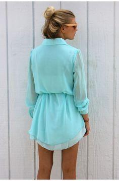 Aqua sheer shirt dress