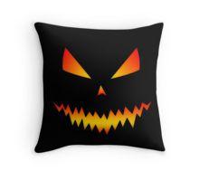 Cool and scary orange Jack O'Lantern face Halloween Black  Throw Pillow by #PLdesign #Halloween #HalloweenGift