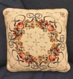 Vintage Needlepoint Pillow by Imperial Elegance by PastPrezence