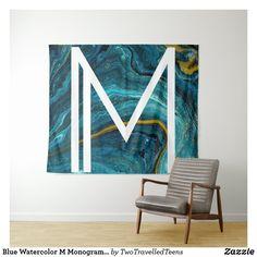 Blue Watercolor M Monogram Tapestry Marble Tapestry, M Monogram, Christmas Card Holders, Bed Spreads, Vivid Colors, Picnic Blanket, Watercolor, Prints, Blue