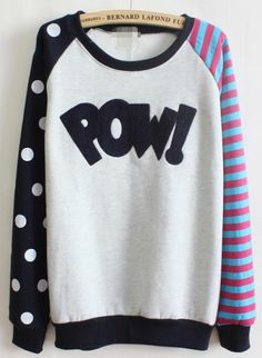 Royal Blue Long Sleeve Striped Polka Dot Sweatshirt - Sheinside.com