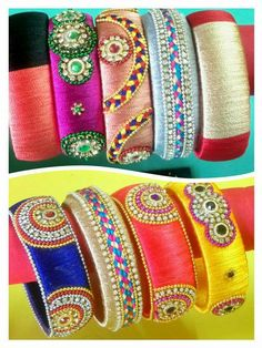 To order, pls whatsapp on 9704084116 Silk Thread Bangles Design, Silk Bangles, Thread Jewellery, Bohemian Accessories, Handmade Accessories, Handmade Jewelry, Beaded Necklace Patterns, Jewelry Patterns, Beading Tutorials
