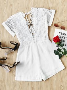 Online shopping for Double Plunging Neck Lace Bodice Cuffed Playsuit from a great selection of women's fashion clothing & more at MakeMeChic. 50 Fashion, Fashion Clothes, Fashion Outfits, Summer Outfits, Girl Outfits, Cute Outfits, White Lace Jumpsuit, White Playsuit, Gymnastics Outfits