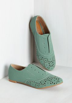 To Be or Notch To Be Flat in Sage - Flat, Faux Leather, Green, Solid, Cutout, Casual, Variation, Colorsplash