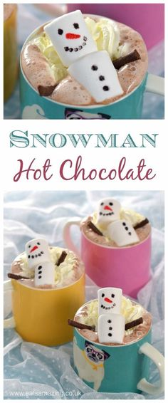 Cute and easy snowman homemade hot chocolate - fun food for kids from Eats Amazing UK - perfect for Christmas