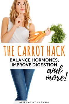 The Carrot Hack – did you know that carrots can help improve digestion, hormone imbalance, and more? As it turns out, carrots have many benefits that have nothing to do with their vitamin A content! Discover reasons why you should eat a raw carrot salad every day. This simple tip can potentially help improve your health, help you lose weight, help SIBO, and more. Based on Dr. Ray Peat's diet and research. #raypeat #healthy | ALifeAdjacent.com Eating Carrots, Colon Health, Women's Health, Carrot Health, Holistic Nutritionist, Carrot Salad, Lose Weight, Weight Loss