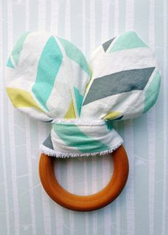 Bunny Ear Crinkle Fabric and Wooden Teething Ring by #BirdandBearBoutique, $8. #MaineTeam