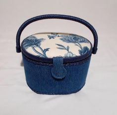 Sewing-Caddy-Denim-Padded-Lid-Handle-Tray-Craft-Storage-Box-10-x-6
